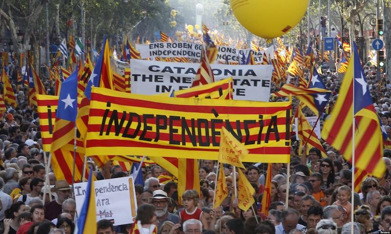 Manifestation pour l'indépendance en 2010 à Barcelone.