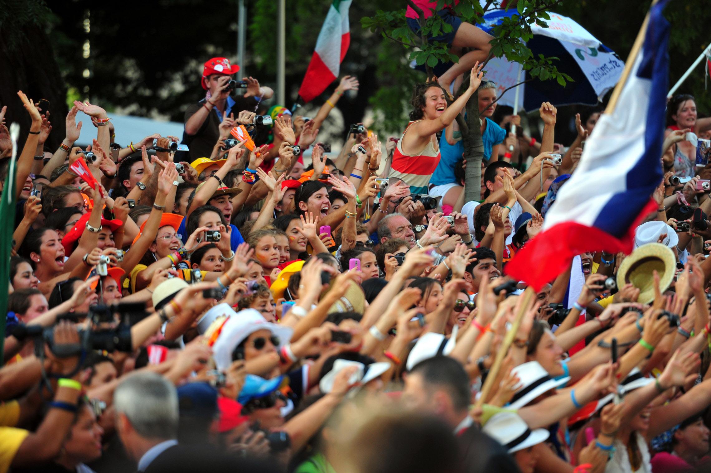 19 août 2011: Foule lors de la Via Crucis organisée pendant les JMJ 2011, Madrid, Espagne.